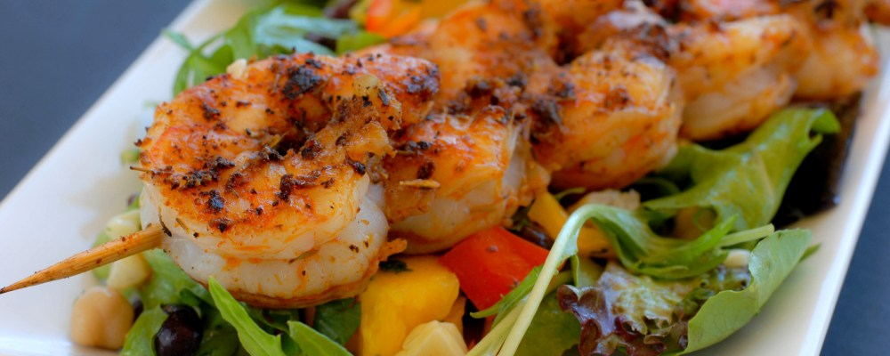 salad and shrimp for an event